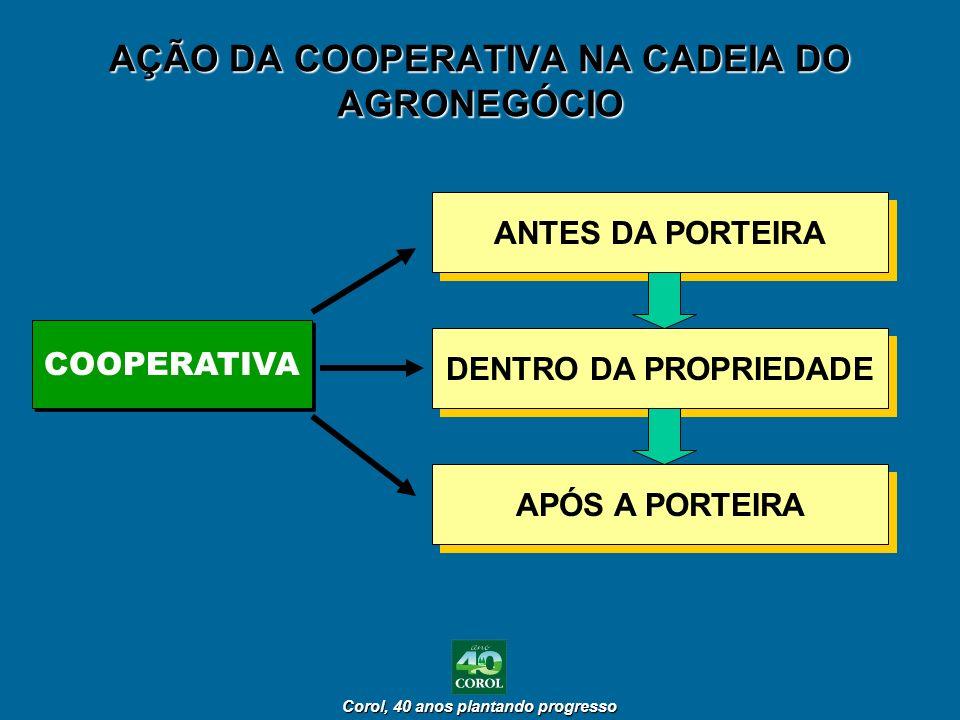 Corol, 40 anos plantando progresso Corol, 40 anos plantando progresso AÇÃO DA COOPERATIVA NA CADEIA DO AGRONEGÓCIO ANTES DA PORTEIRA DENTRO DA PROPRIE