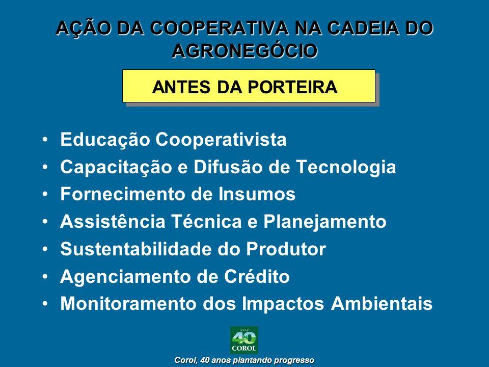 Corol, 40 anos plantando progresso Corol, 40 anos plantando progresso AÇÃO DA COOPERATIVA NA CADEIA DO AGRONEGÓCIO ANTES DA PORTEIRA Educação Cooperat