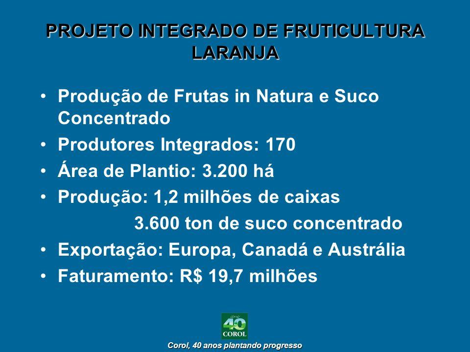 Corol, 40 anos plantando progresso Corol, 40 anos plantando progresso PROJETO INTEGRADO DE FRUTICULTURA LARANJA Produção de Frutas in Natura e Suco Co