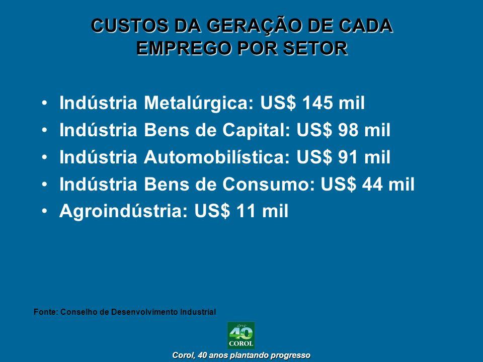 Corol, 40 anos plantando progresso Corol, 40 anos plantando progresso CUSTOS DA GERAÇÃO DE CADA EMPREGO POR SETOR Indústria Metalúrgica: US$ 145 mil I