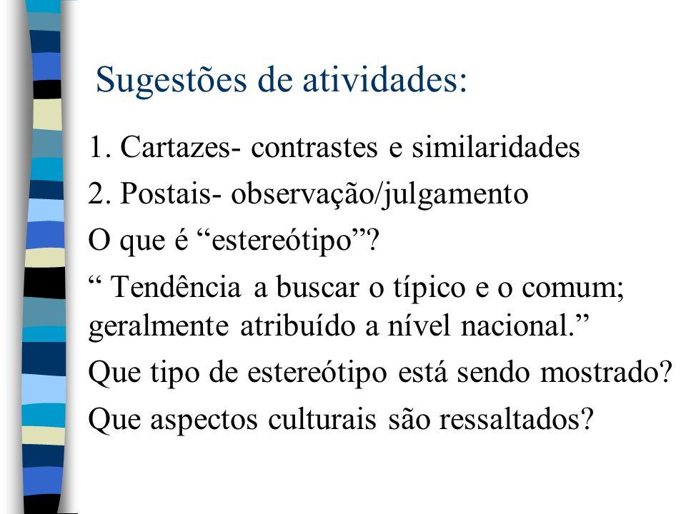 Sugestões de atividades: 1.Cartazes- contrastes e similaridades 2.