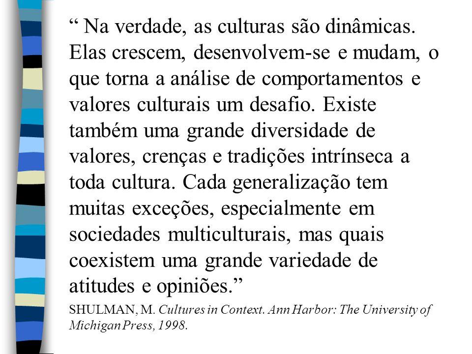 Na verdade, as culturas são dinâmicas.