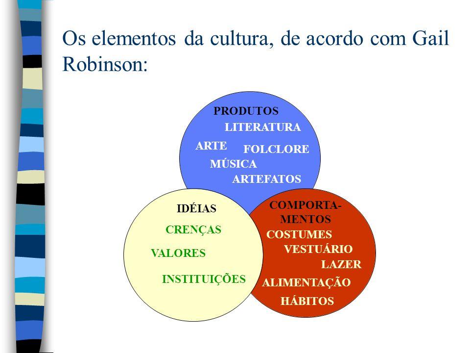 Os elementos da cultura, de acordo com Gail Robinson: PRODUTOS COSTUMESCRENÇAS LITERATURA ARTE FOLCLORE MÚSICA ARTEFATOS IDÉIAS COMPORTA- MENTOS VALORES INSTITUIÇÕES VESTUÁRIO LAZER ALIMENTAÇÃO HÁBITOS