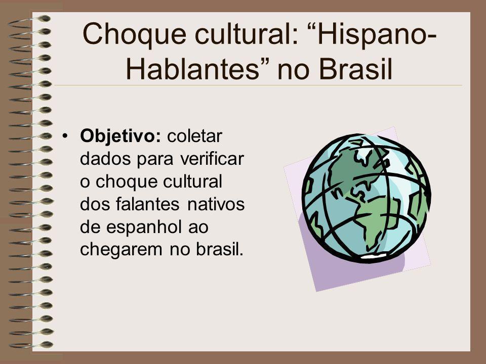 Choque cultural: Hispano- Hablantes no Brasil Objetivo: coletar dados para verificar o choque cultural dos falantes nativos de espanhol ao chegarem no