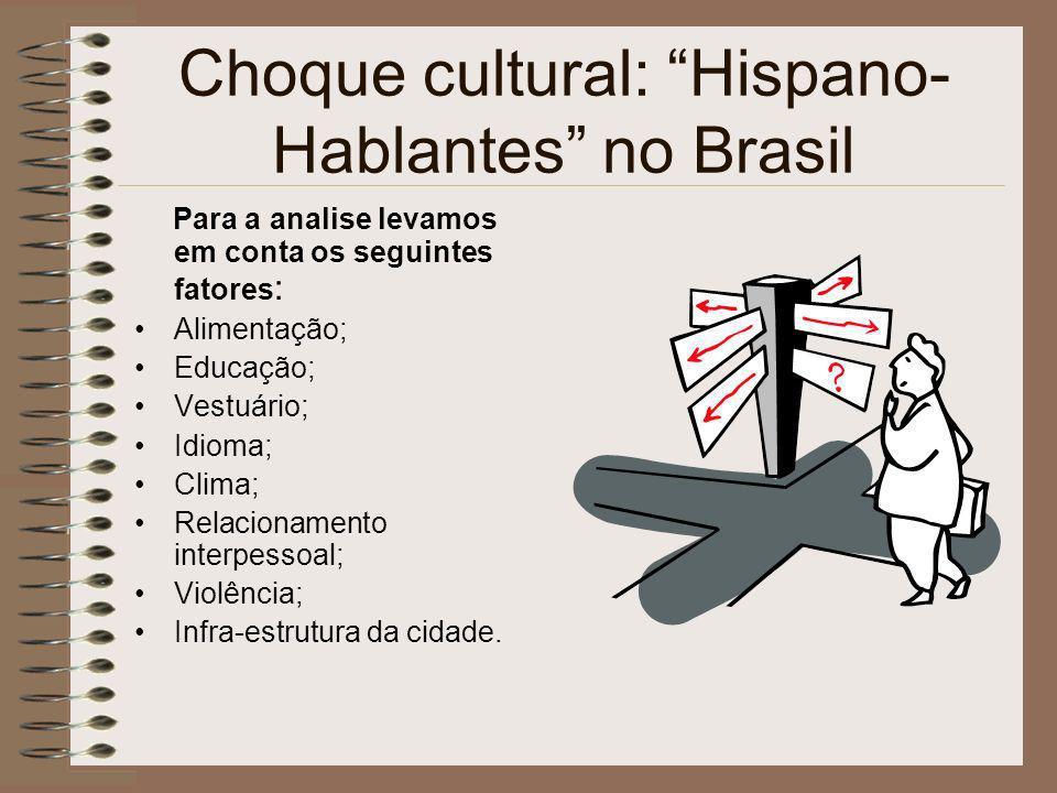 Choque cultural: Hispano- Hablantes no Brasil Para a analise levamos em conta os seguintes fatores : Alimentação; Educação; Vestuário; Idioma; Clima;