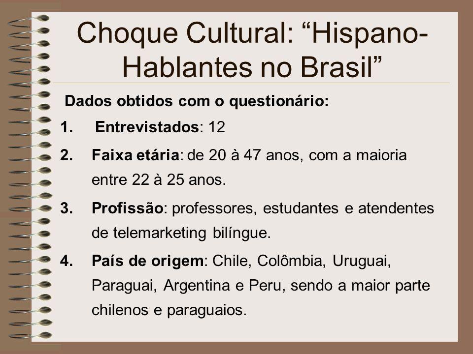 Choque Cultural: Hispano- Hablantes no Brasil Dados obtidos com o questionário: 1. Entrevistados: 12 2.Faixa etária: de 20 à 47 anos, com a maioria en