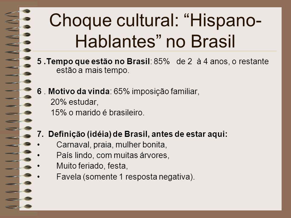 Choque cultural: Hispano- Hablantes no Brasil 5.Tempo que estão no Brasil: 85% de 2 à 4 anos, o restante estão a mais tempo. 6. Motivo da vinda: 65% i