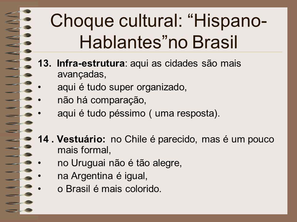 Choque cultural: Hispano- Hablantesno Brasil 13. Infra-estrutura: aqui as cidades são mais avançadas, aqui é tudo super organizado, não há comparação,