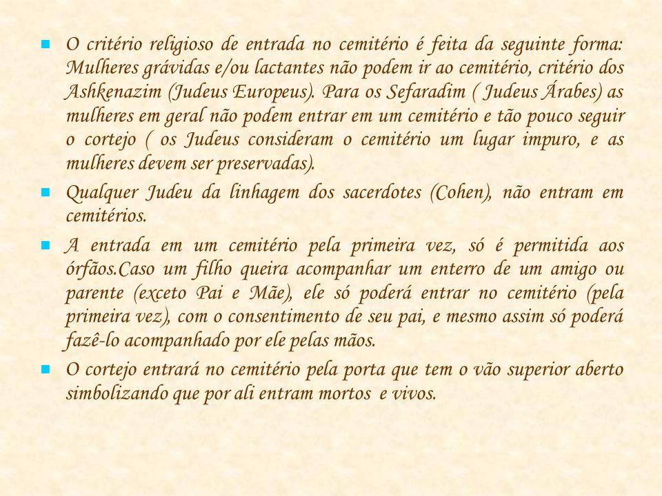 O critério religioso de entrada no cemitério é feita da seguinte forma: Mulheres grávidas e/ou lactantes não podem ir ao cemitério, critério dos Ashkenazim (Judeus Europeus).