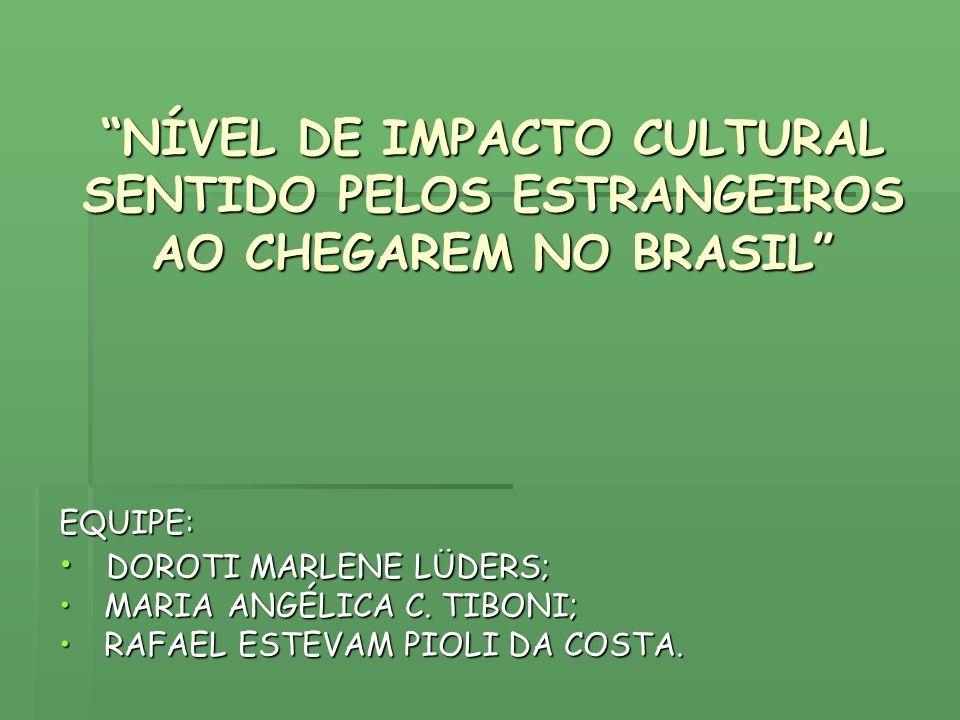 NÍVEL DE IMPACTO CULTURAL SENTIDO PELOS ESTRANGEIROS AO CHEGAREM NO BRASIL EQUIPE: DOROTI MARLENE LÜDERS; DOROTI MARLENE LÜDERS; MARIA ANGÉLICA C. TIB
