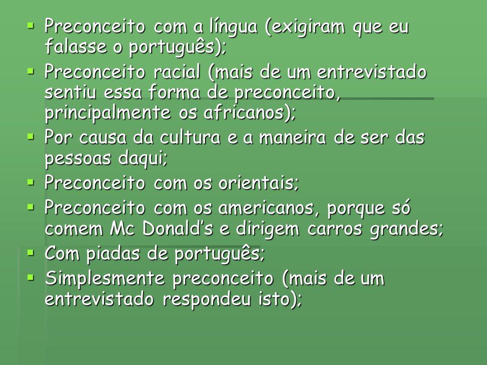 Preconceito com a língua (exigiram que eu falasse o português); Preconceito com a língua (exigiram que eu falasse o português); Preconceito racial (ma