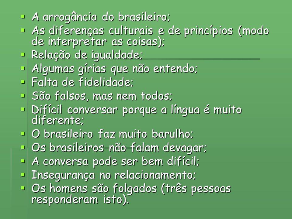 A arrogância do brasileiro; A arrogância do brasileiro; As diferenças culturais e de princípios (modo de interpretar as coisas); As diferenças cultura