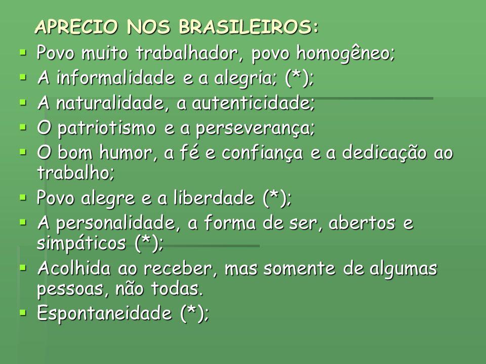 APRECIO NOS BRASILEIROS: Povo muito trabalhador, povo homogêneo; Povo muito trabalhador, povo homogêneo; A informalidade e a alegria; (*); A informali