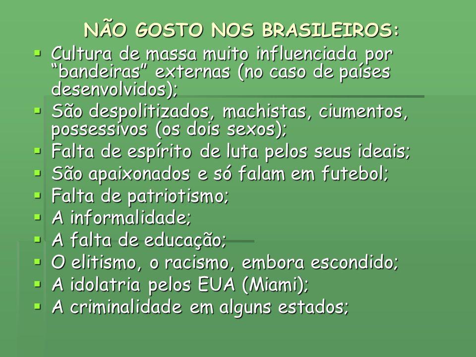 NÃO GOSTO NOS BRASILEIROS: Cultura de massa muito influenciada por bandeiras externas (no caso de países desenvolvidos); Cultura de massa muito influe