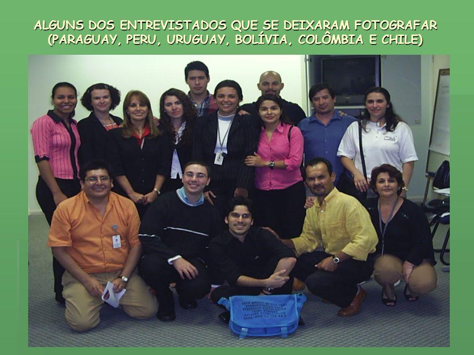 ALGUNS DOS ENTREVISTADOS QUE SE DEIXARAM FOTOGRAFAR (PARAGUAY, PERU, URUGUAY, BOLÍVIA, COLÔMBIA E CHILE)