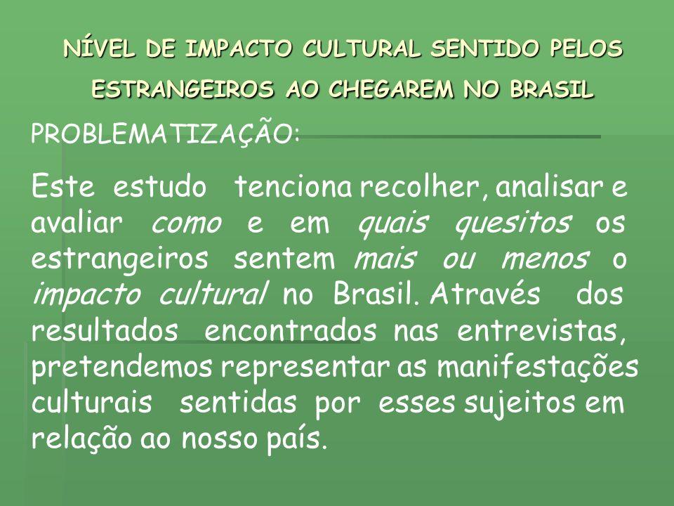 NÍVEL DE IMPACTO CULTURAL SENTIDO PELOS ESTRANGEIROS AO CHEGAREM NO BRASIL PROBLEMATIZAÇÃO: Este estudo tenciona recolher, analisar e avaliar como e e