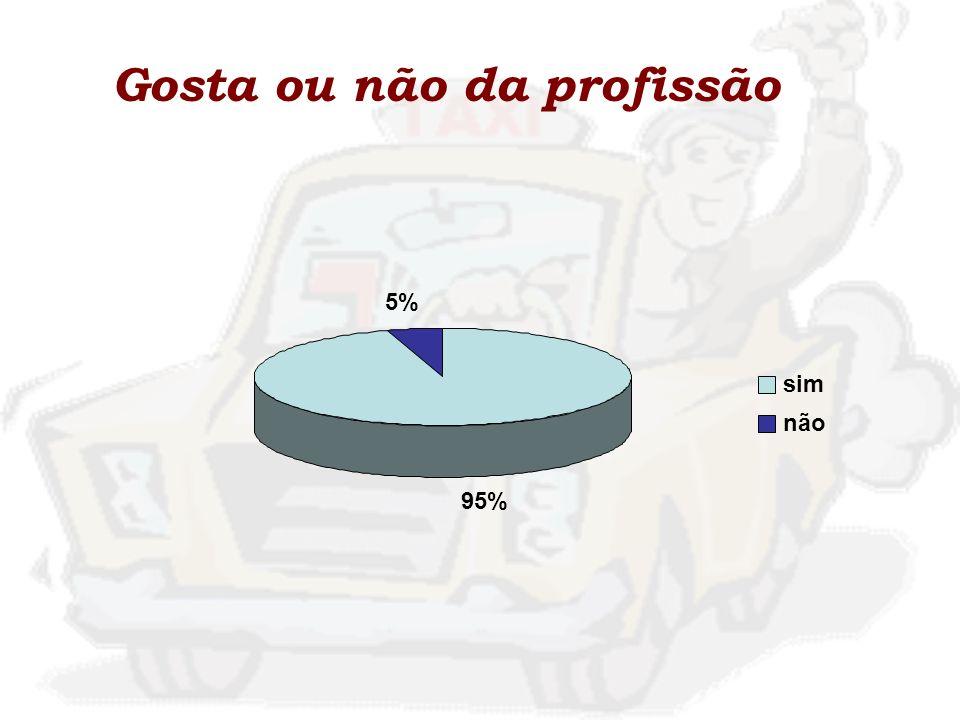 Gosta ou não da profissão 95% 5% sim não