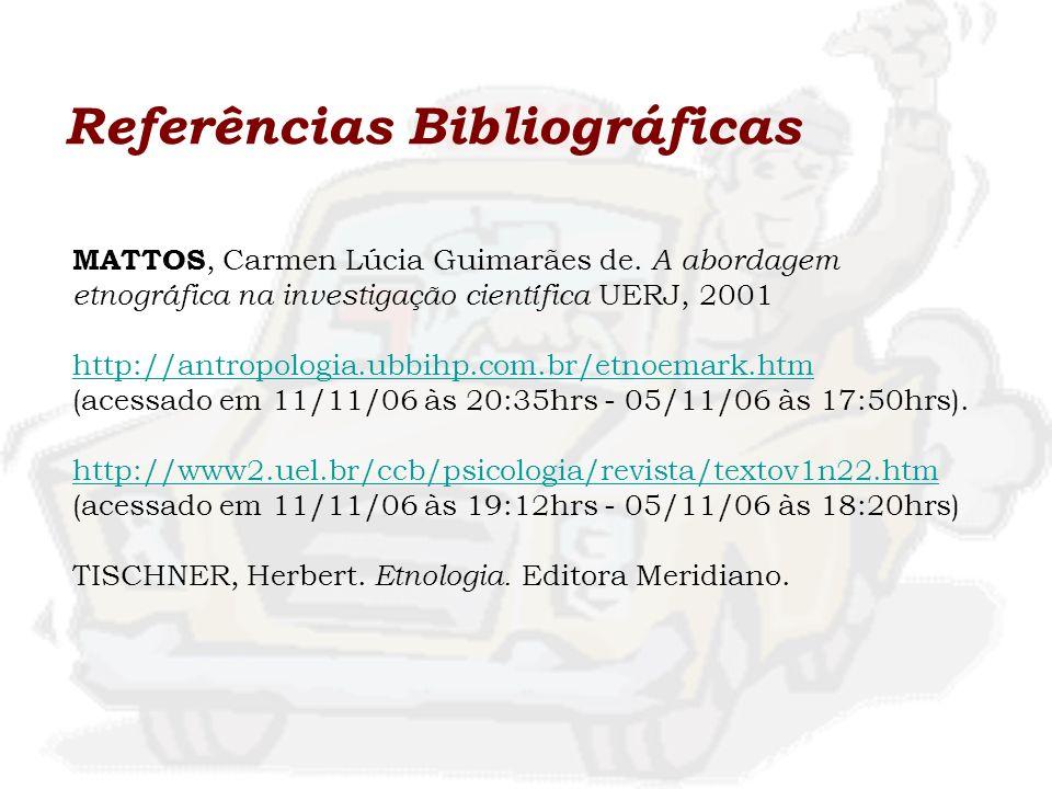Referências Bibliográficas MATTOS, Carmen Lúcia Guimarães de. A abordagem etnográfica na investigação científica UERJ, 2001 http://antropologia.ubbihp
