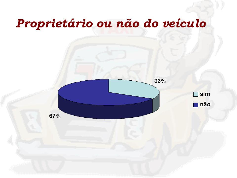 Proprietário ou não do veículo 33% 67% sim não