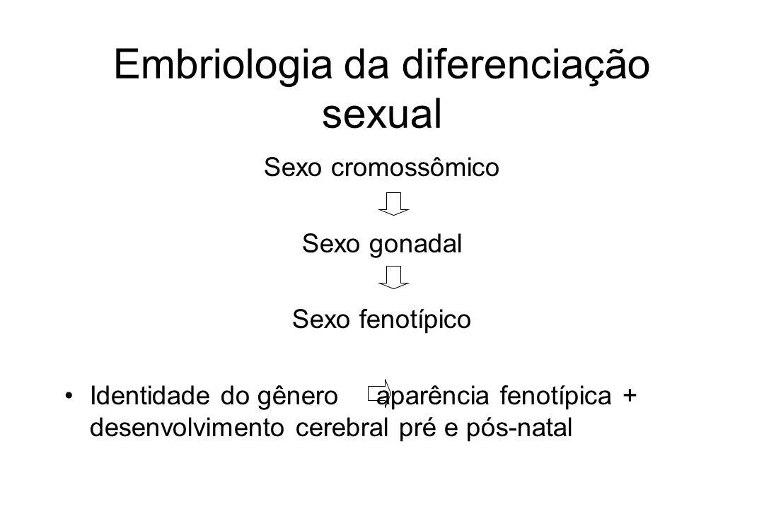Embriologia da diferenciação sexual Sexo cromossômico Sexo gonadal Sexo fenotípico Identidade do gênero aparência fenotípica + desenvolvimento cerebra