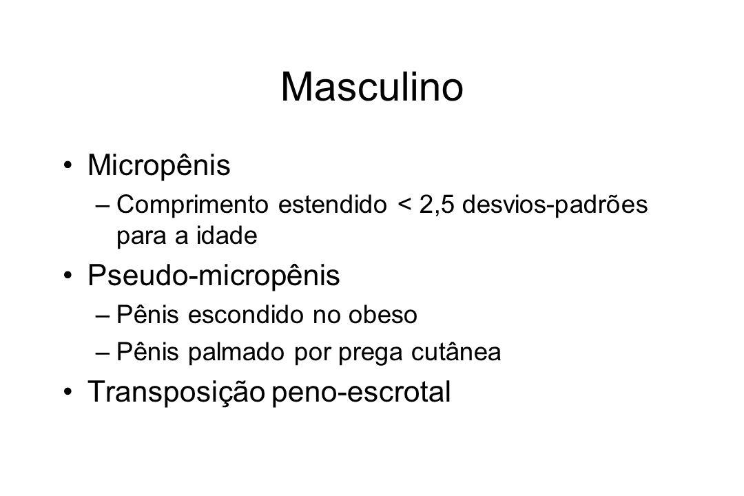 Masculino Micropênis –Comprimento estendido < 2,5 desvios-padrões para a idade Pseudo-micropênis –Pênis escondido no obeso –Pênis palmado por prega cu