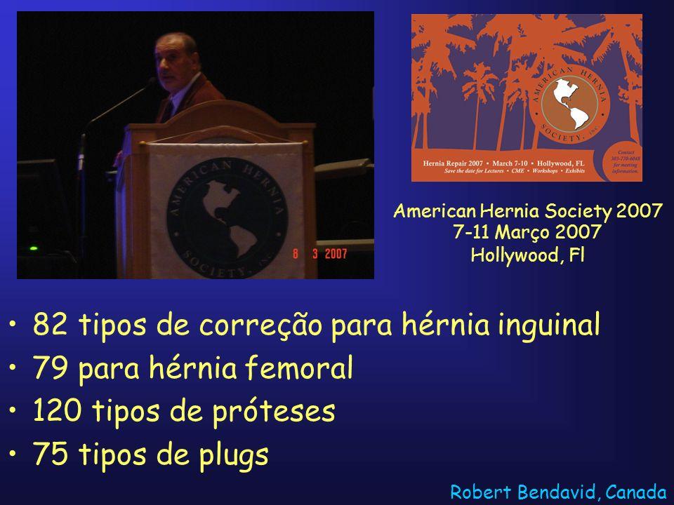 82 tipos de correção para hérnia inguinal 79 para hérnia femoral 120 tipos de próteses 75 tipos de plugs Robert Bendavid, Canada American Hernia Socie