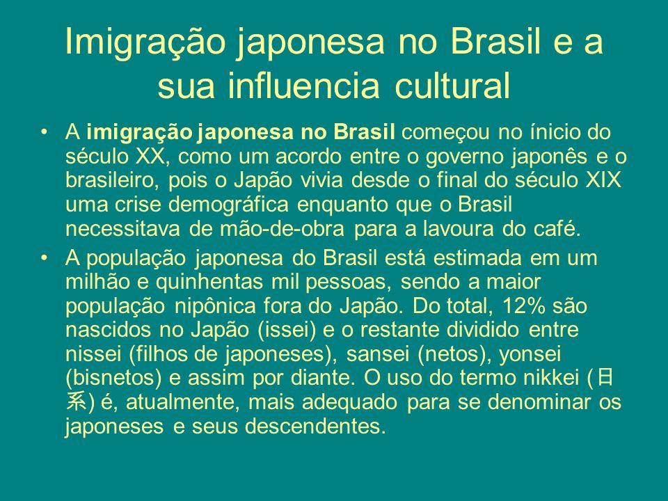 Imigração japonesa no Brasil e a sua influencia cultural A imigração japonesa no Brasil começou no ínicio do século XX, como um acordo entre o governo