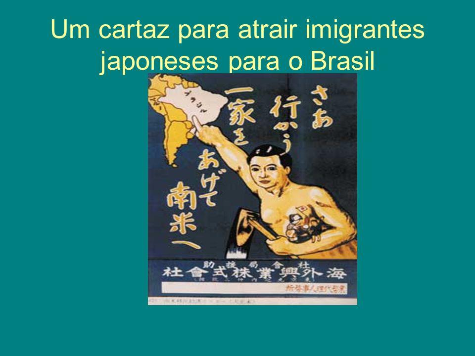 Um cartaz para atrair imigrantes japoneses para o Brasil