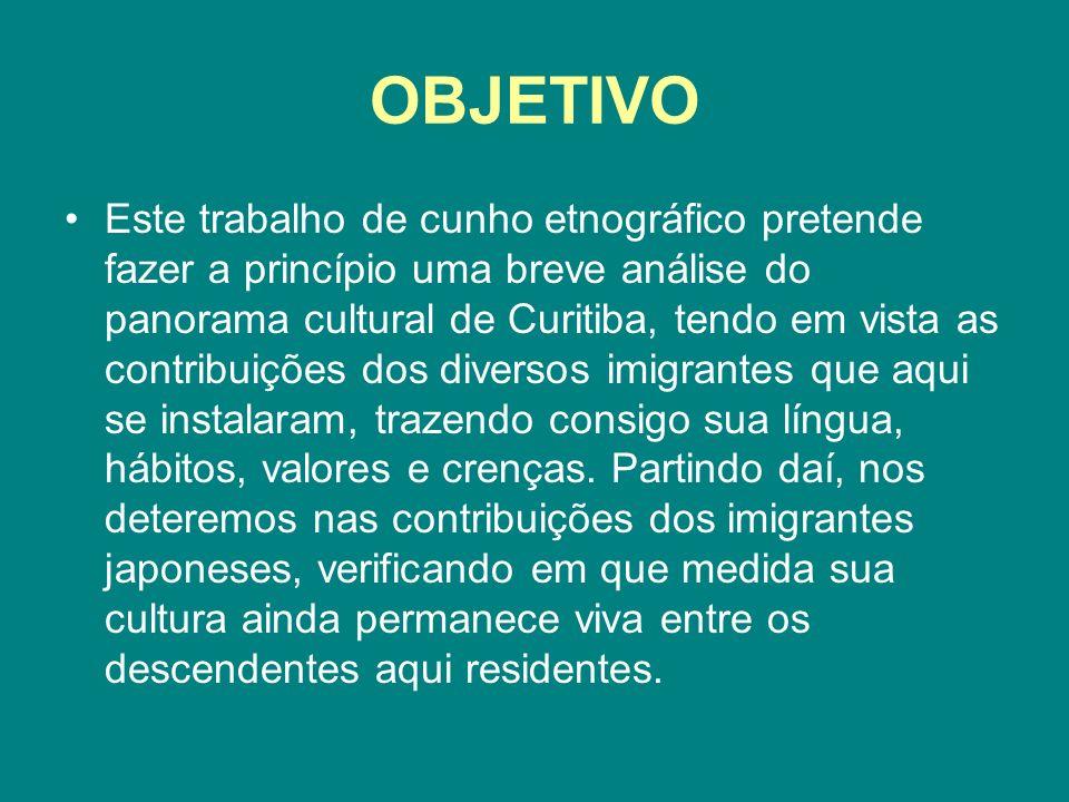 OBJETIVO Este trabalho de cunho etnográfico pretende fazer a princípio uma breve análise do panorama cultural de Curitiba, tendo em vista as contribui