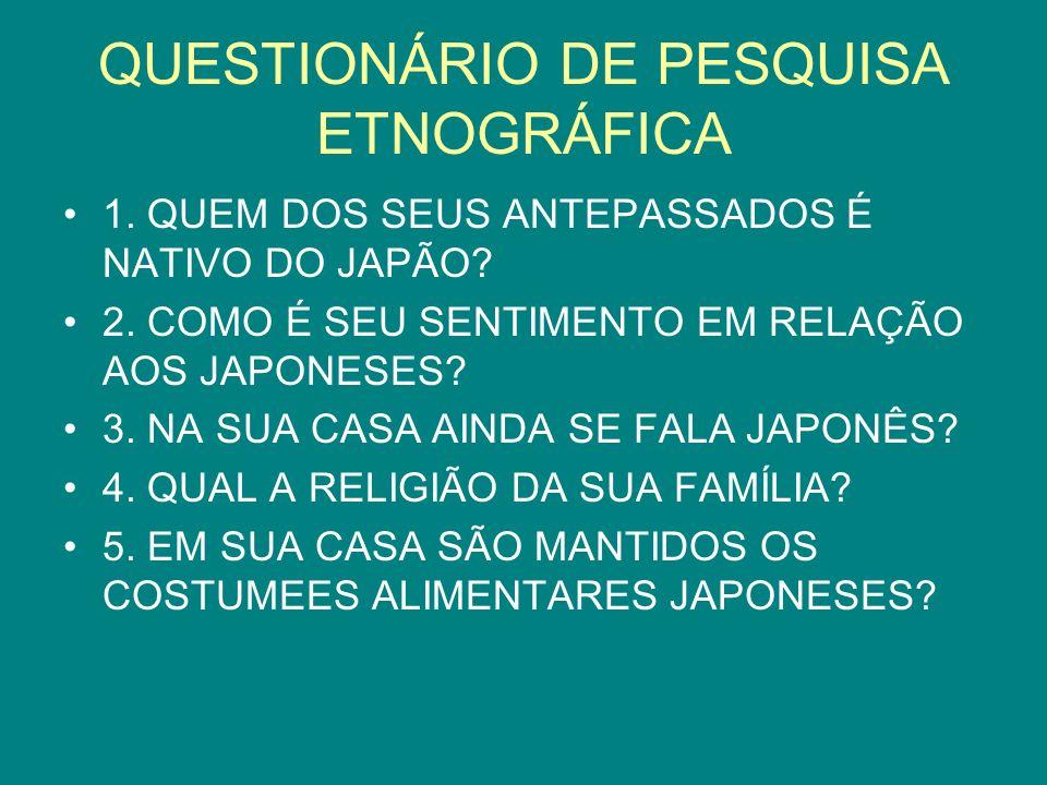 QUESTIONÁRIO DE PESQUISA ETNOGRÁFICA 1. QUEM DOS SEUS ANTEPASSADOS É NATIVO DO JAPÃO? 2. COMO É SEU SENTIMENTO EM RELAÇÃO AOS JAPONESES? 3. NA SUA CAS