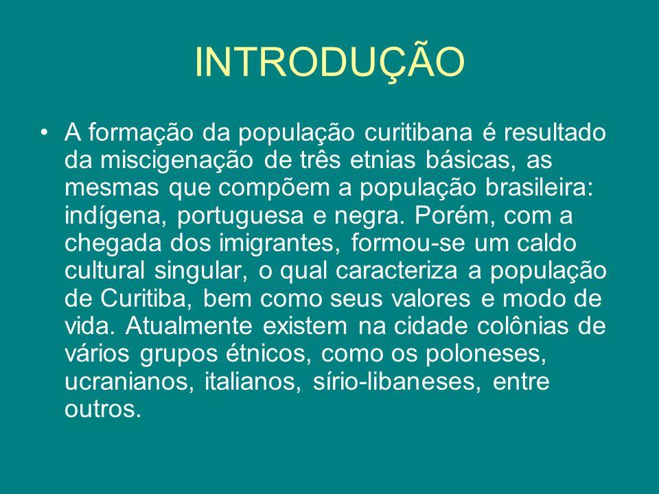 INTRODUÇÃO A formação da população curitibana é resultado da miscigenação de três etnias básicas, as mesmas que compõem a população brasileira: indíge