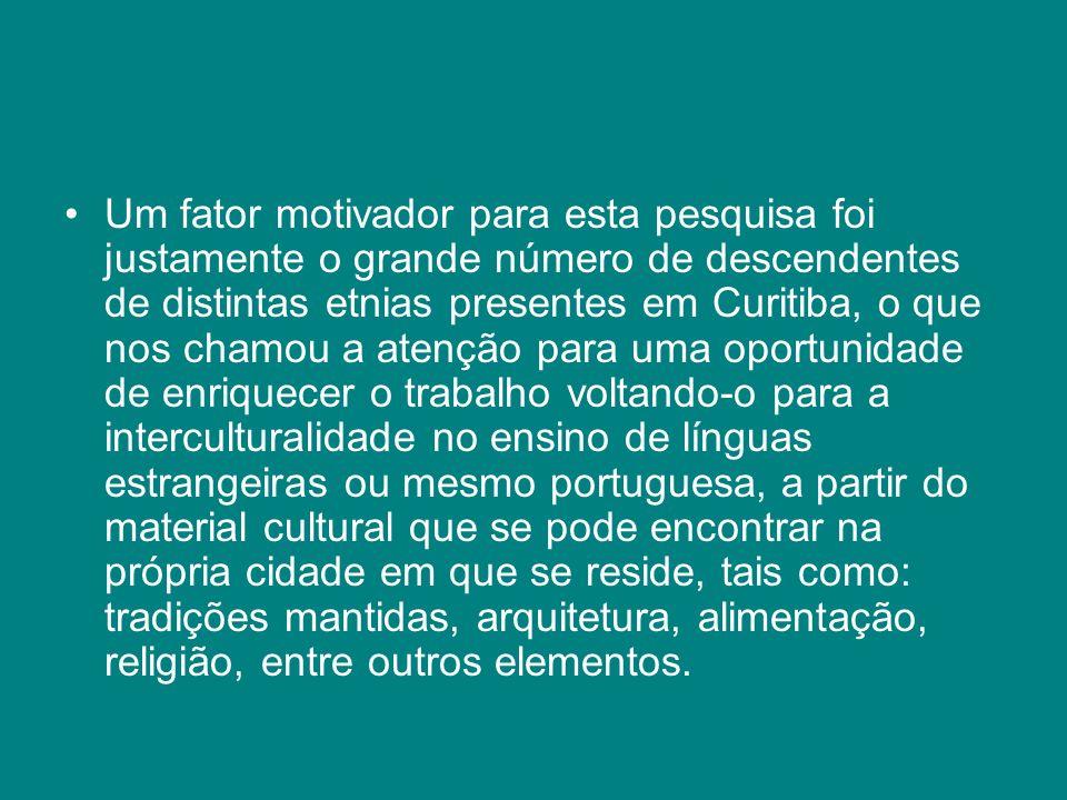 Um fator motivador para esta pesquisa foi justamente o grande número de descendentes de distintas etnias presentes em Curitiba, o que nos chamou a ate
