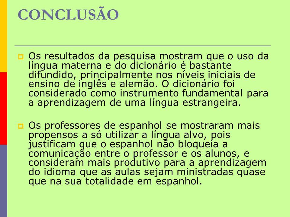 CONCLUSÃO Os resultados da pesquisa mostram que o uso da língua materna e do dicionário é bastante difundido, principalmente nos níveis iniciais de en