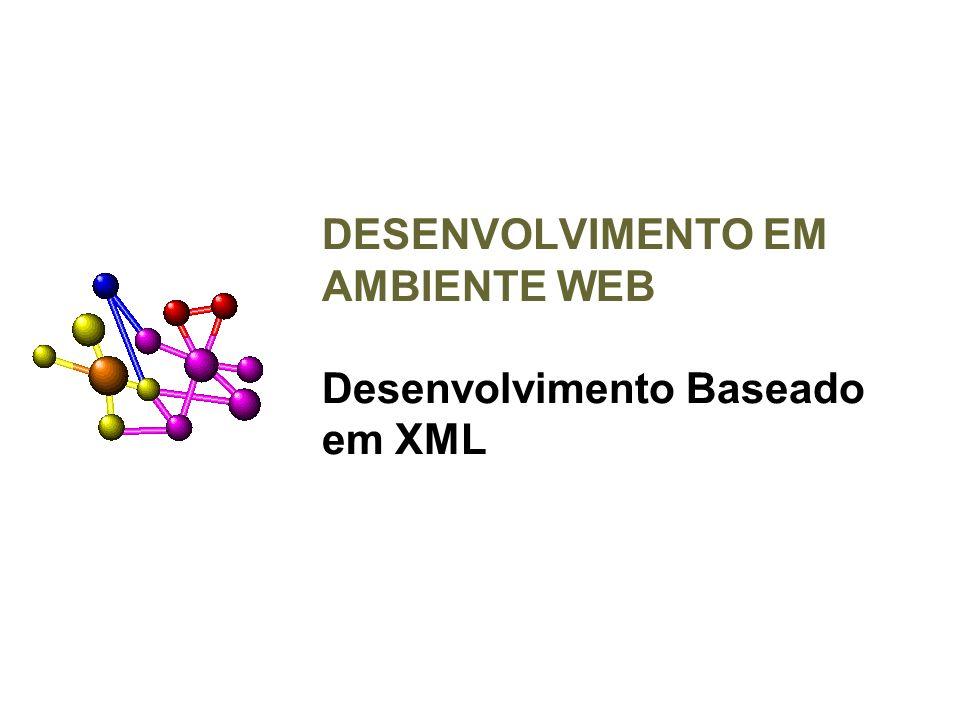 XML HTML: Hypertext Markup Language –Conjunto de TAGS pré-definidos XML: eXtensible Markup Language –Quem fornece a informação pode definir novos tags e atributos conforme sua necessidade.