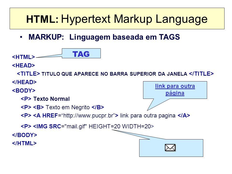 HTML: Hypertext Markup Language TITULO QUE APARECE NO BARRA SUPERIOR DA JANELA Texto Normal Texto em Negrito link para outra pagina MARKUP: Linguagem