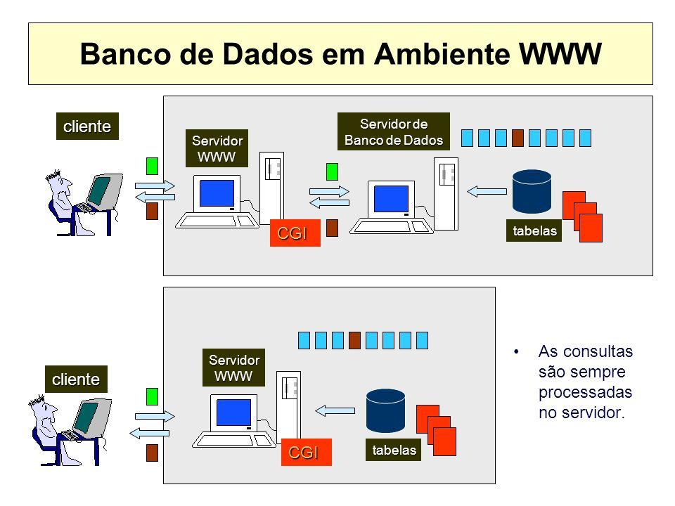 Banco de Dados em Ambiente WWW As consultas são sempre processadas no servidor. cliente ServidorWWW cliente tabelas tabelas Servidor de Banco de Dados
