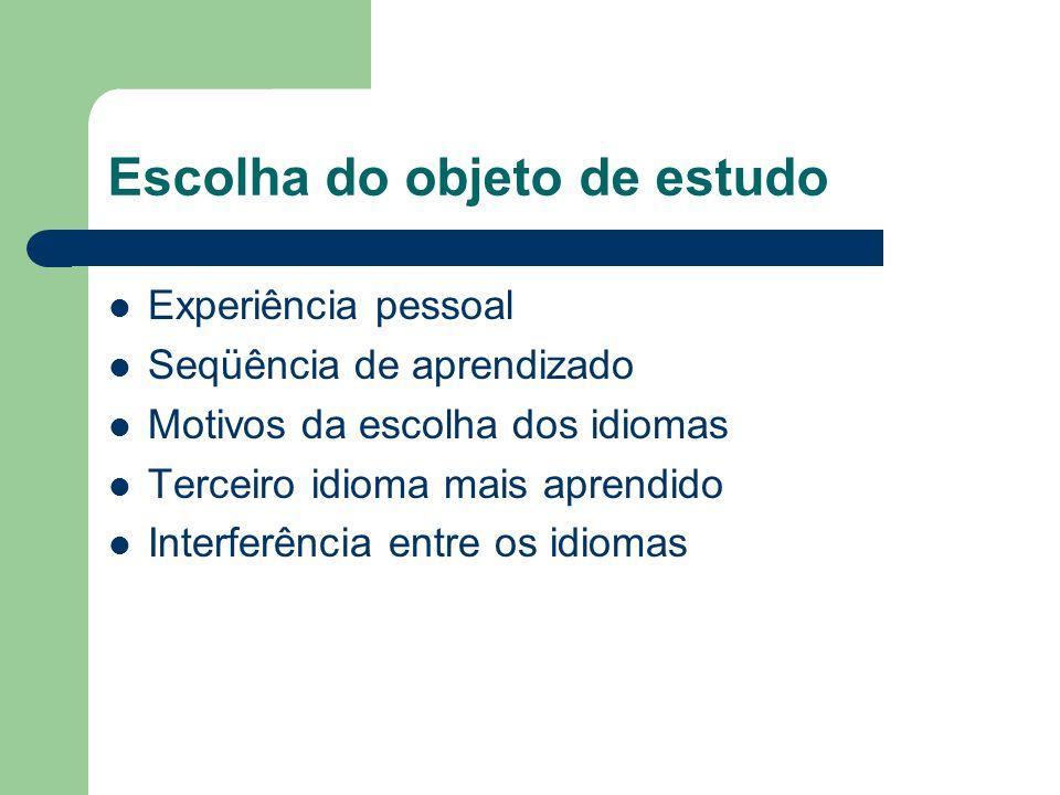 Escolha do objeto de estudo Experiência pessoal Seqüência de aprendizado Motivos da escolha dos idiomas Terceiro idioma mais aprendido Interferência e