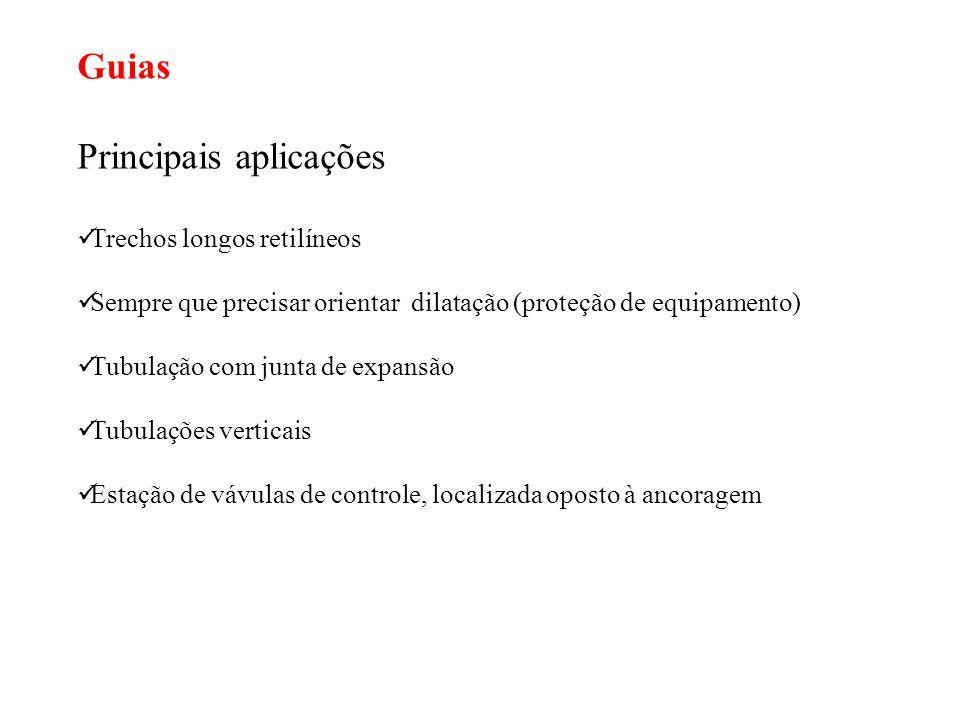 Guias Principais aplicações Trechos longos retilíneos Sempre que precisar orientar dilatação (proteção de equipamento) Tubulação com junta de expansão