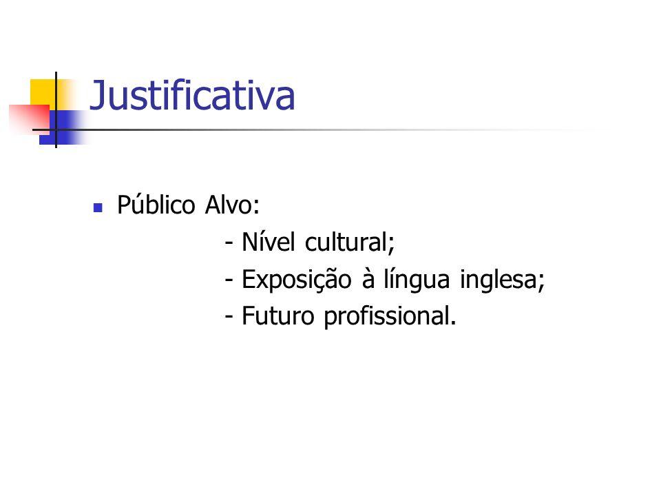 Justificativa Público Alvo: - Nível cultural; - Exposição à língua inglesa; - Futuro profissional.