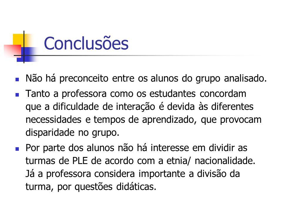 Conclusões Não há preconceito entre os alunos do grupo analisado. Tanto a professora como os estudantes concordam que a dificuldade de interação é dev