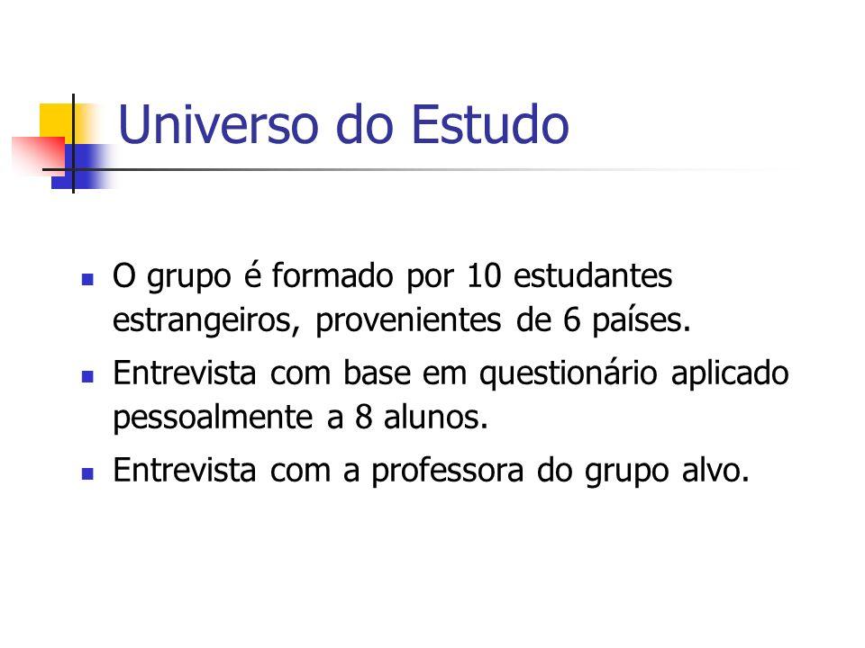 Universo do Estudo O grupo é formado por 10 estudantes estrangeiros, provenientes de 6 países. Entrevista com base em questionário aplicado pessoalmen