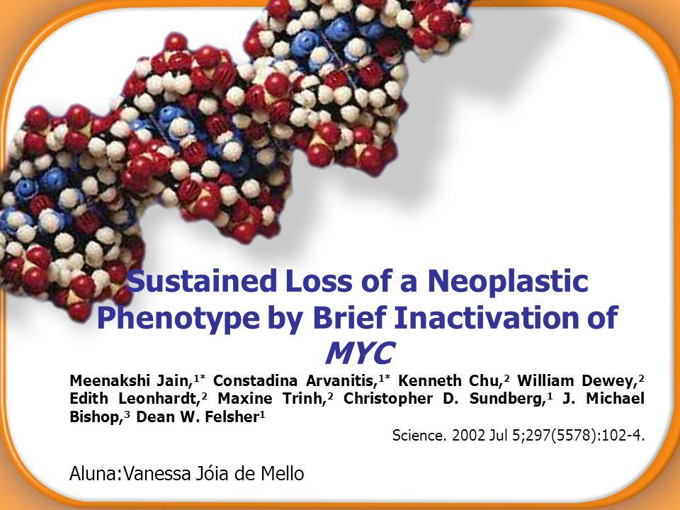 Sustained Loss of a Neoplastic Phenotype by Brief Inactivation of MYC Meenakshi Jain, 1* Constadina Arvanitis, 1* Kenneth Chu, 2 William Dewey, 2 Edit