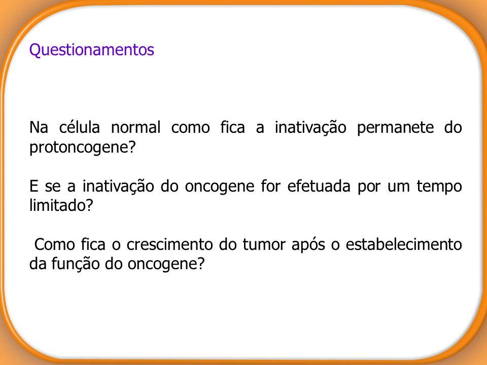 Questionamentos Na célula normal como fica a inativação permanete do protoncogene? E se a inativação do oncogene for efetuada por um tempo limitado? C