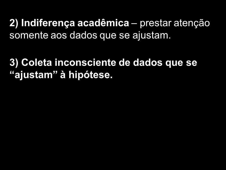 2) Indiferença acadêmica – prestar atenção somente aos dados que se ajustam. 3) Coleta inconsciente de dados que se ajustam à hipótese.