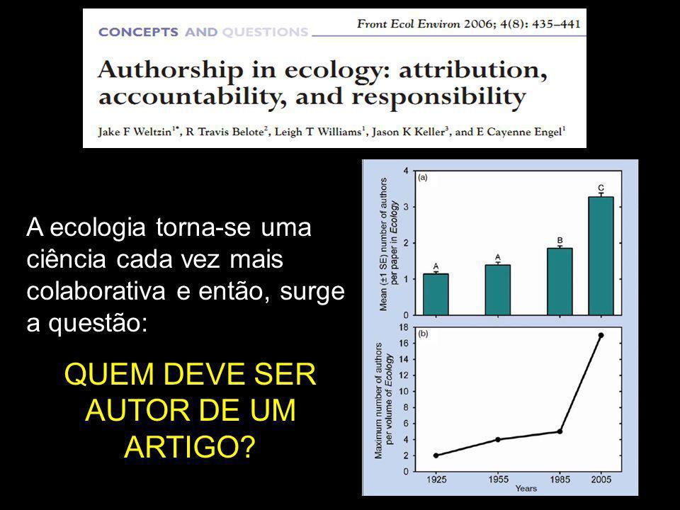 A ecologia torna-se uma ciência cada vez mais colaborativa e então, surge a questão: QUEM DEVE SER AUTOR DE UM ARTIGO?