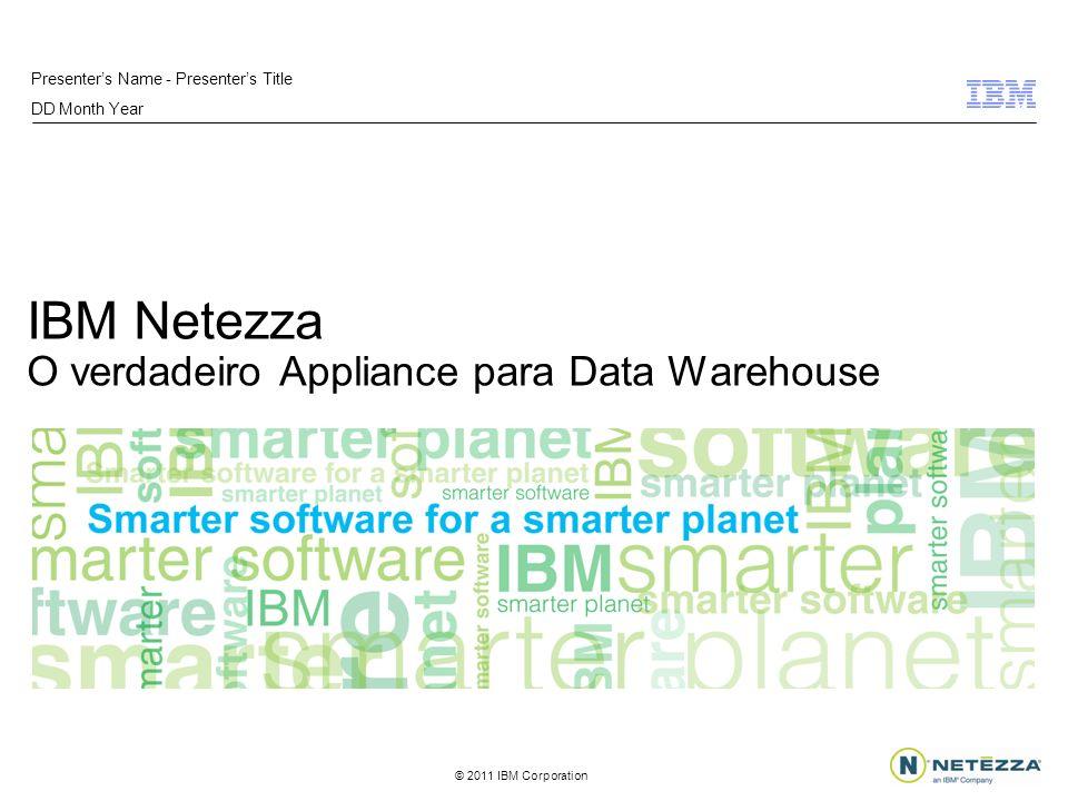 © 2011 IBM Corporation Information Management 12 formas inovadoras de trabalhar Com a tecnologia do Netezza, nós podemos individualizar as ofertas para milhões de clientes, resultando em aumento de renda nunca antes visto na indústria.
