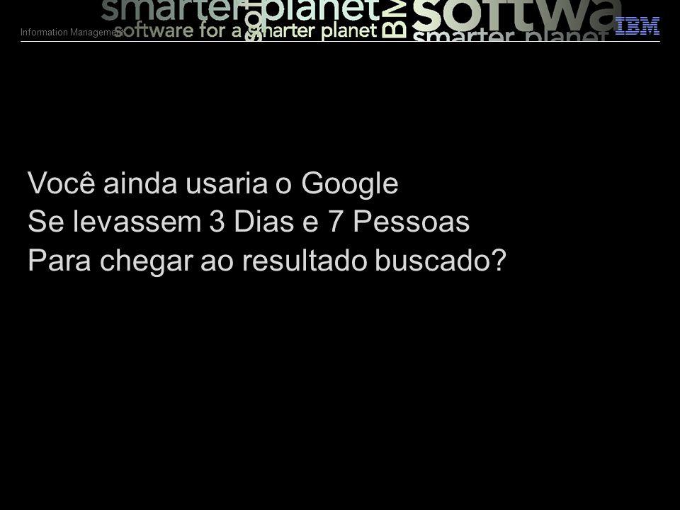 © 2011 IBM Corporation Information Management 2 Você ainda usaria o Google Se levassem 3 Dias e 7 Pessoas Para chegar ao resultado buscado.