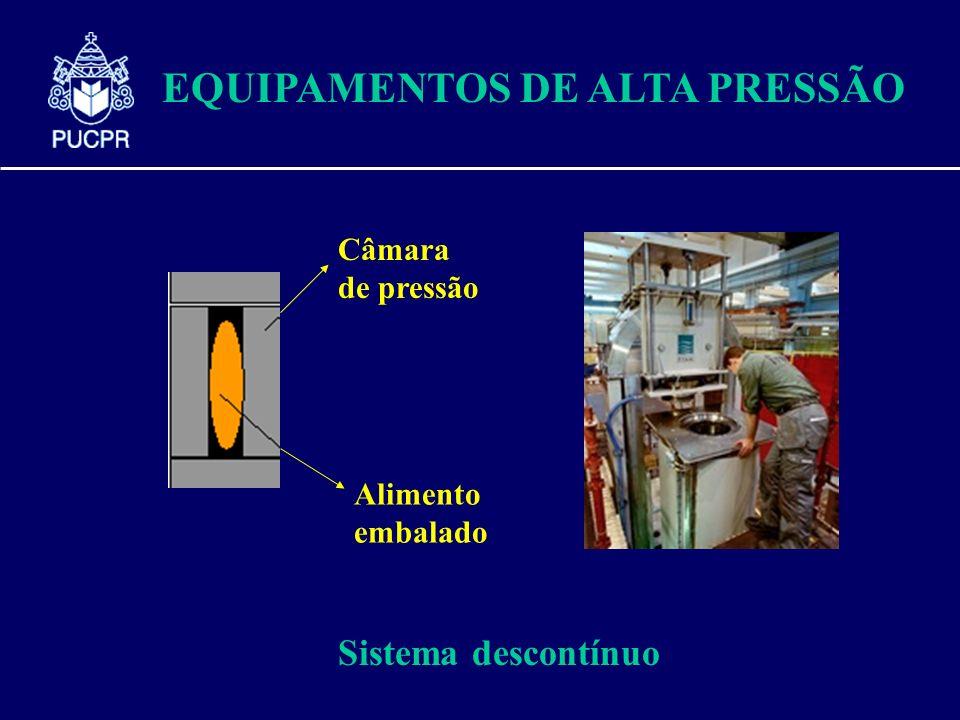 EQUIPAMENTOS DE ALTA PRESSÃO Câmara de pressão Alimento embalado Sistema descontínuo