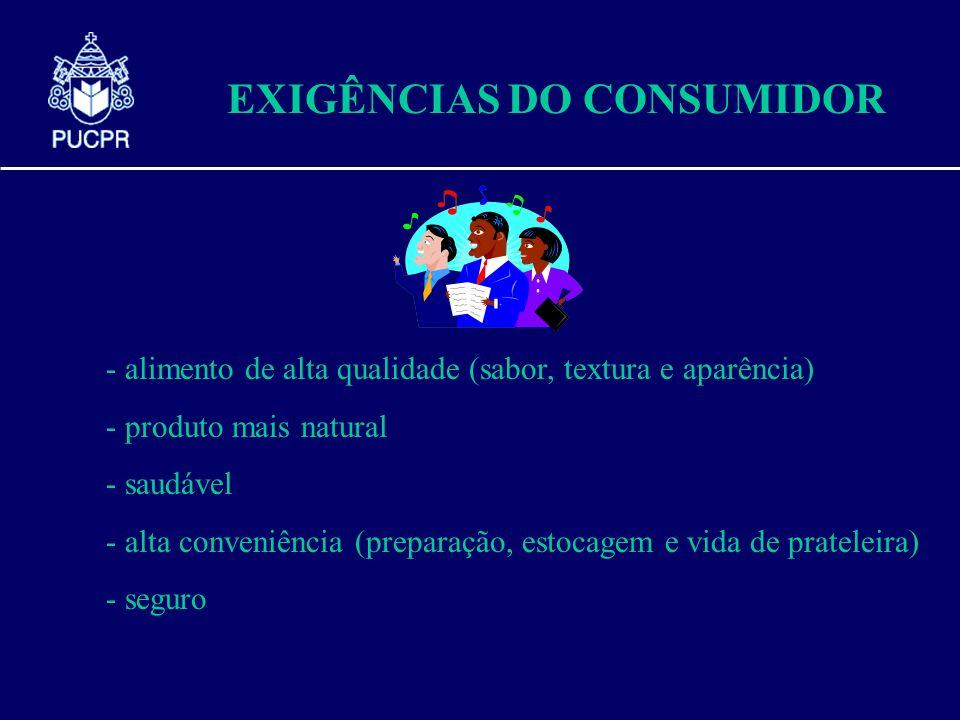 EXIGÊNCIAS DO CONSUMIDOR - alimento de alta qualidade (sabor, textura e aparência) - produto mais natural - saudável - alta conveniência (preparação,