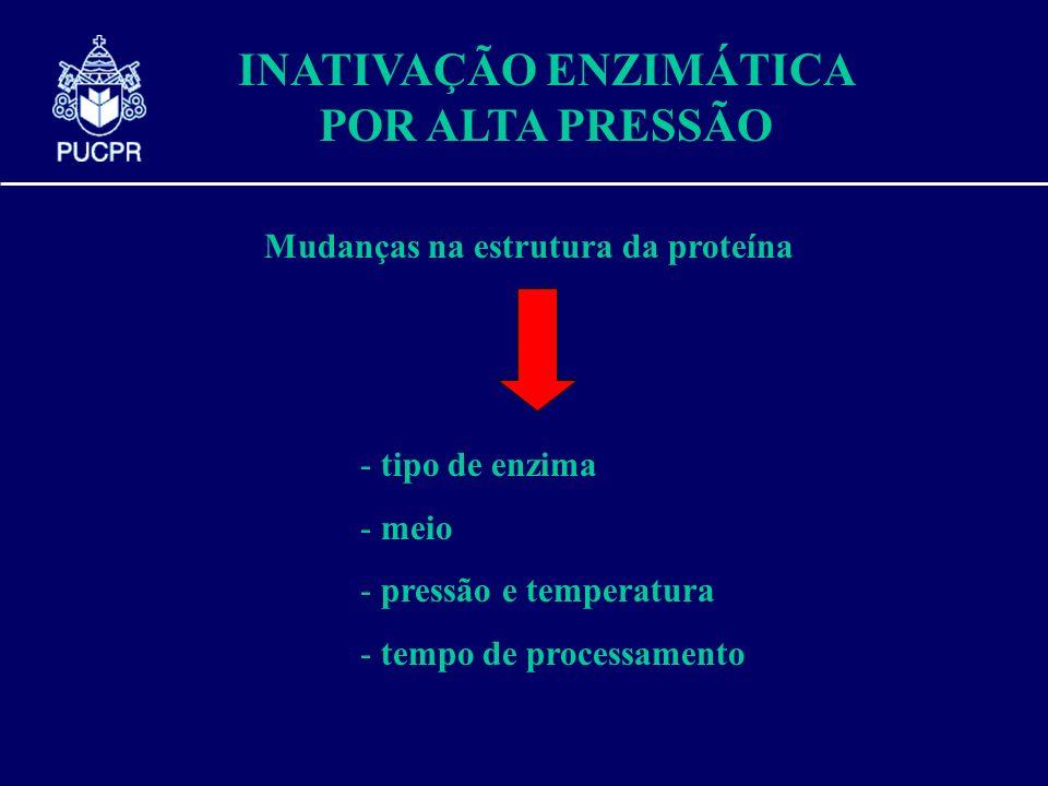 INATIVAÇÃO ENZIMÁTICA POR ALTA PRESSÃO Mudanças na estrutura da proteína - tipo de enzima - meio - pressão e temperatura - tempo de processamento
